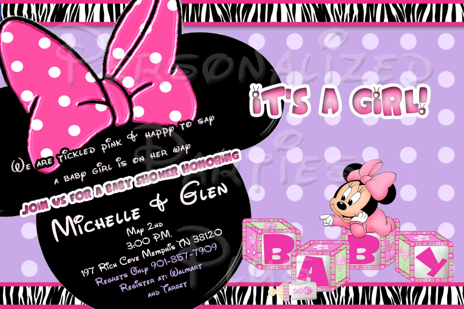 Minnie Mouse Baby Shower Invitation in zebra print