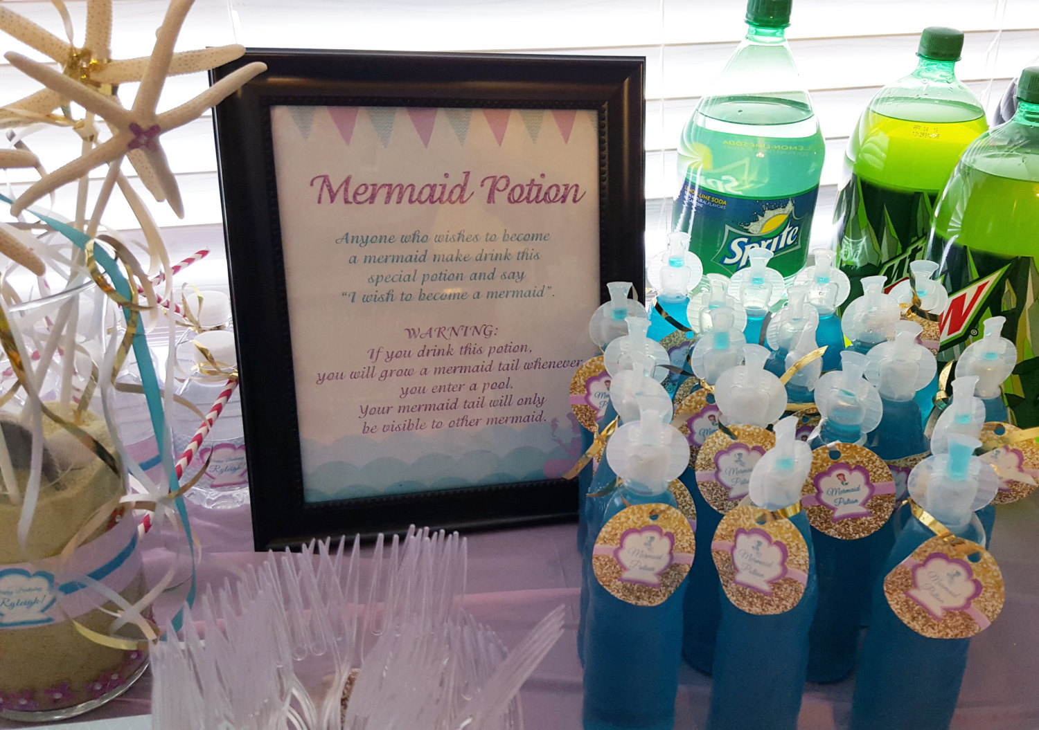 Mermaid potion sign and tags | Magical mermaid drinks and sign