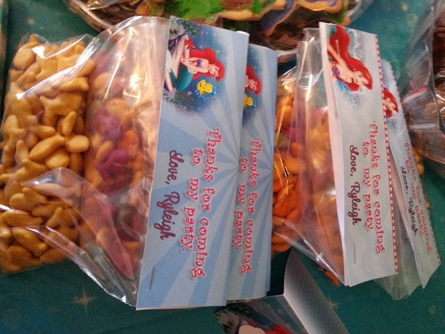 The Little Mermaid - Princess Ariel ziploc bag favor tags: Personalized and emai