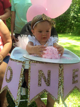 """Pink and gold """"one"""" high chair banner - $9.99"""