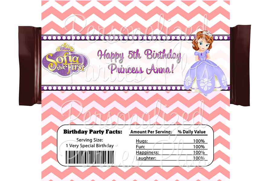Sofia the First chevron candy bar wrappers