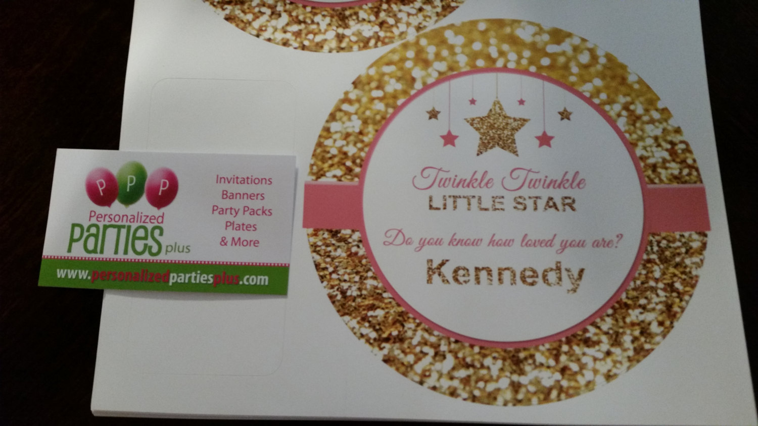Pink and gold plate and cup labels | Twinkle twinkle little star plate and cup l
