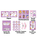 Bubble Guppies party pack in purple and pink: signs, centerpieces, food ... - $19.99