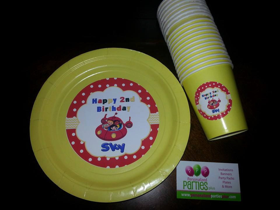 Little Einsteins birthday party pack: banner, plates, cups, stickers and food te