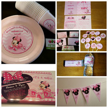 Minnie Mouse baby shower party pack of 12: banner, plates, cups, invites... - $114.99