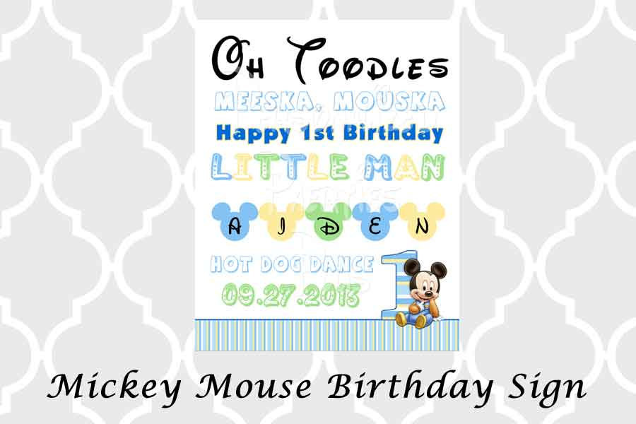 Mickey Mouse birthday party sign in black or white