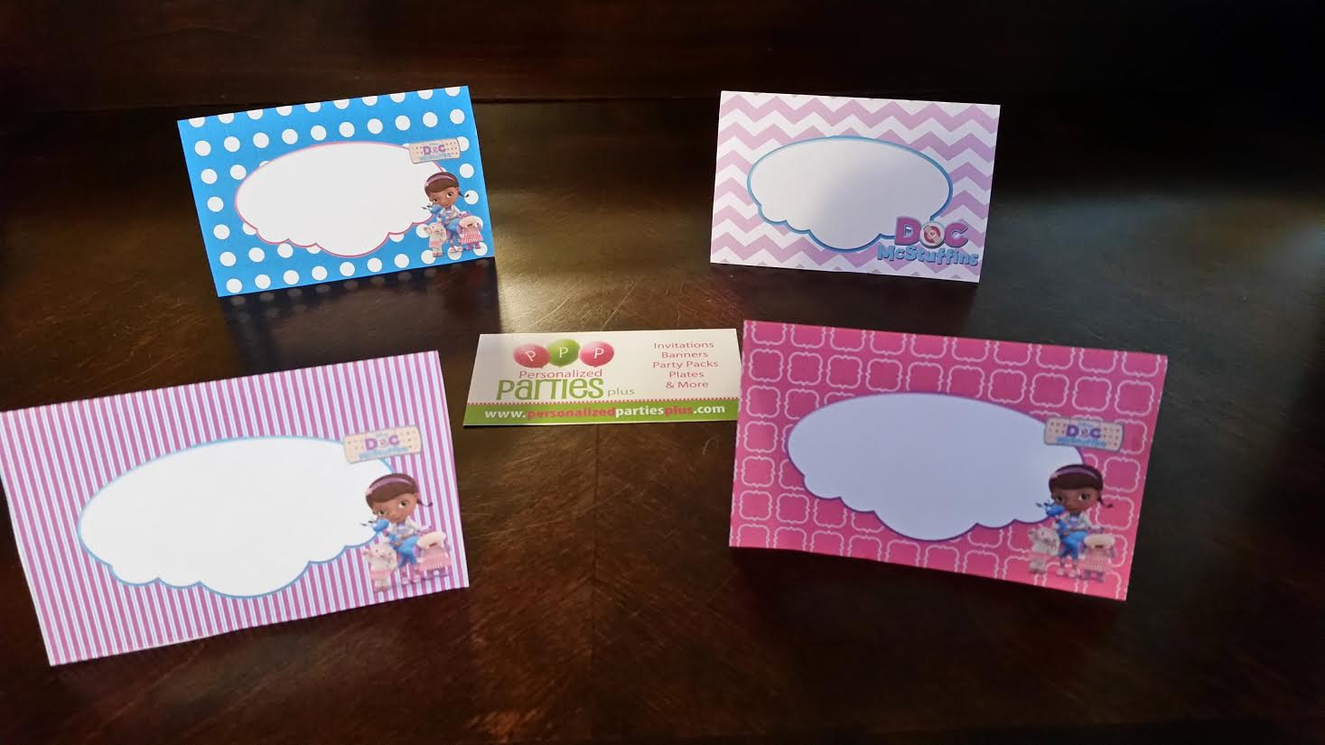Doc McStuffins birthday party pack: plates, cups, banner, signs and food tents
