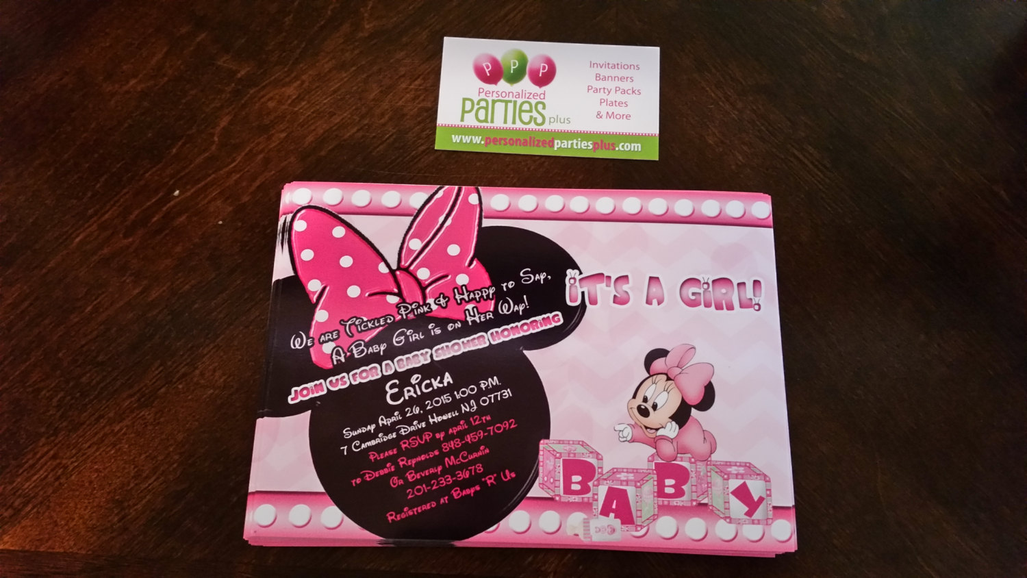 Minnie Mouse baby shower party pack of 12: banner, plates, cups, invites...