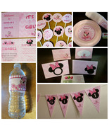 Minnie Mouse baby shower package: banner, plates, cups, signs, cupcake t... - $69.99