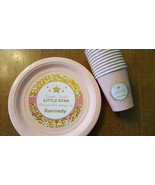 Twinkle Twinkle Little Star plates & cups in pink and gold | 1st birthda... - $49.99