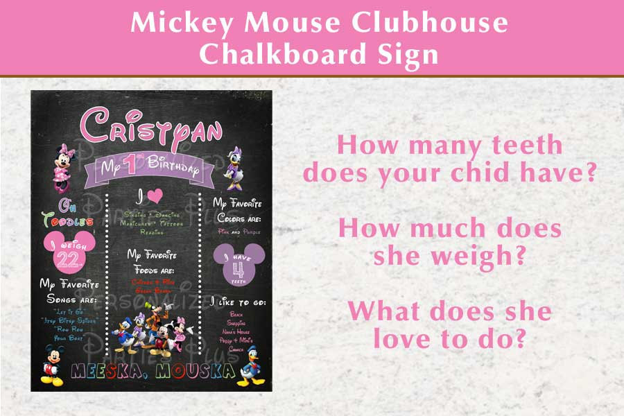 Mickey Mouse Clubhouse birthday chalkboard sign