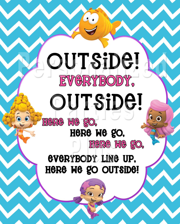 Bubble Guppie sign | Bubble Guppy outside sign | Outside Everybody Outside | Bub