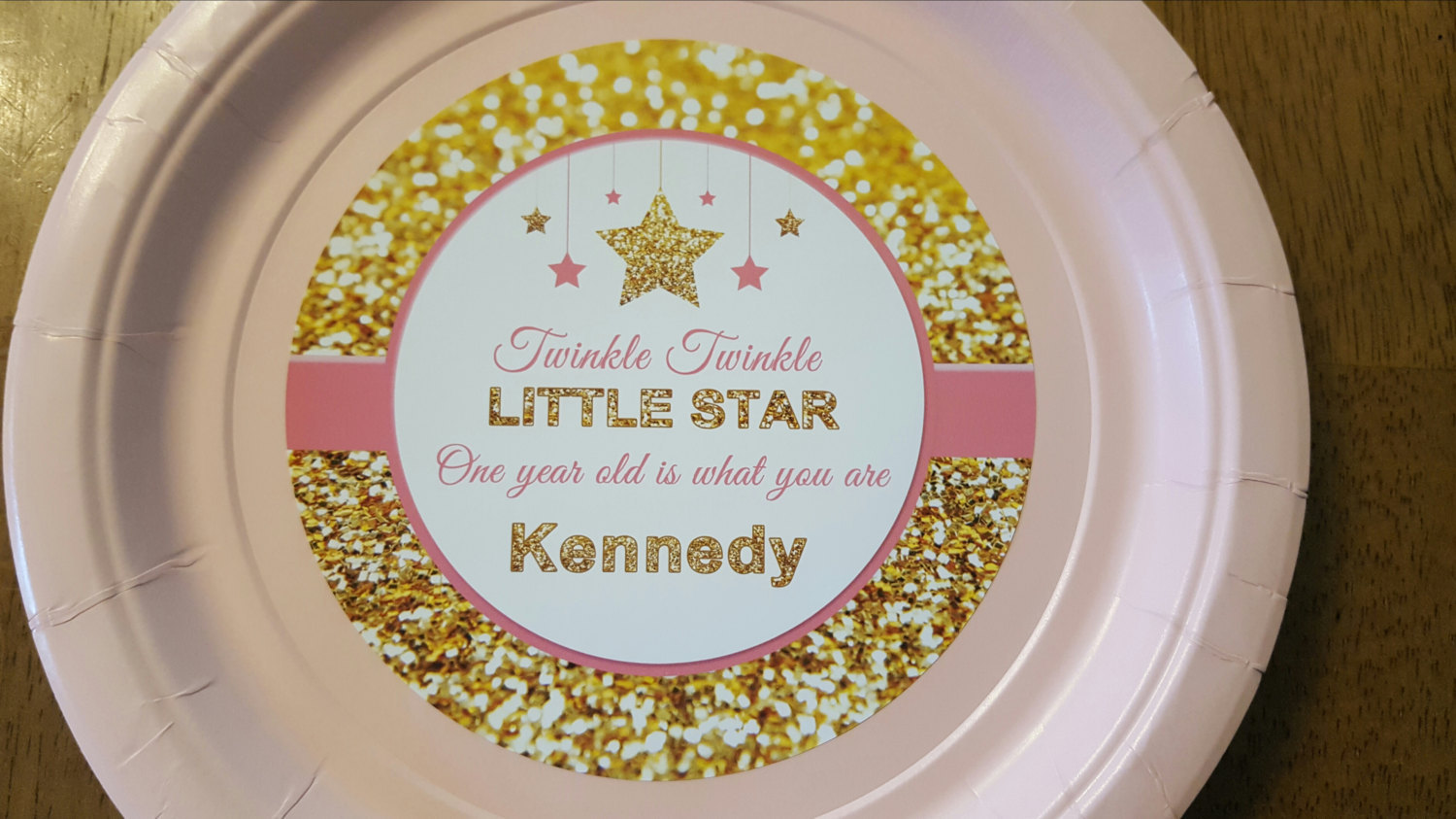 Twinkle Twinkle Little Star plates & cups in pink and gold | 1st birthday plate
