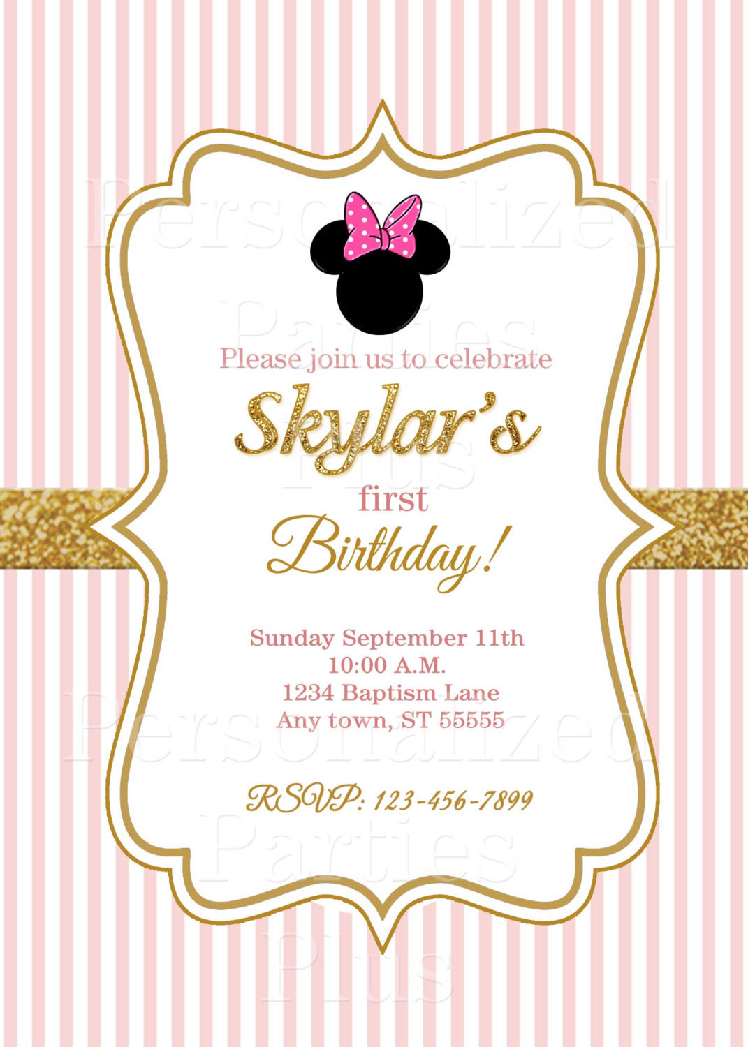 Minnie Mouse birthday invitations | Pink and gold Minnie Mouse birthday invitati