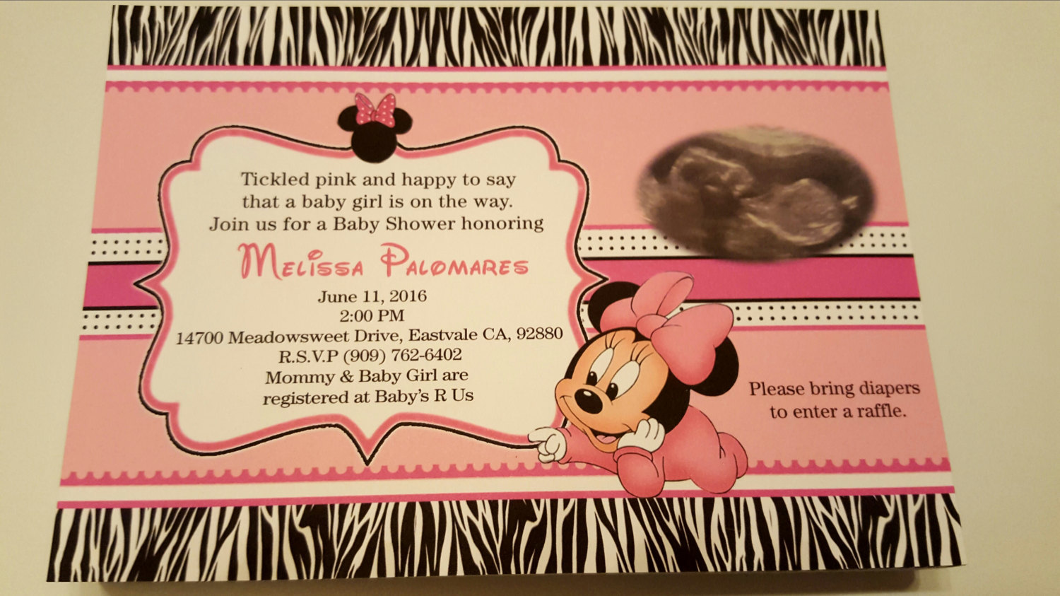 Minnie Mouse Baby Shower Invitations   Minnie Mouse baby shower invites