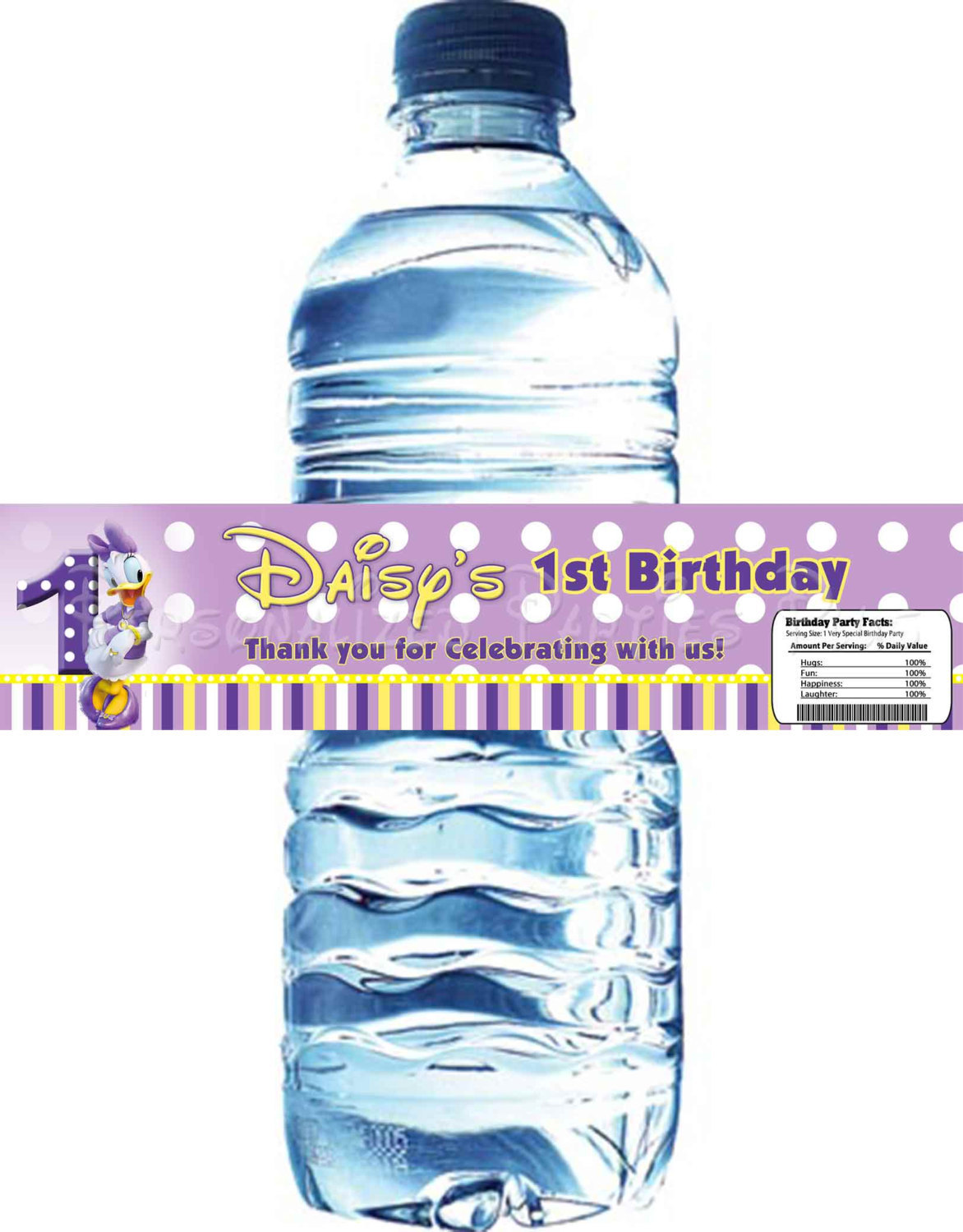 Daisy Duck water bottle labels for birthday parties