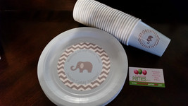 Elephant plates and cups in chevron print: great for birthdays or baby s... - $34.99