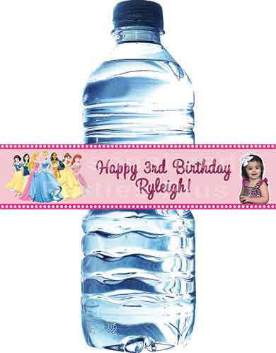Princess water bottle labelsl that say Happy Birthday: Downloadable & Printable