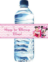 Minnie Mouse chevron birthday water bottle labels: Downloadable - $4.00