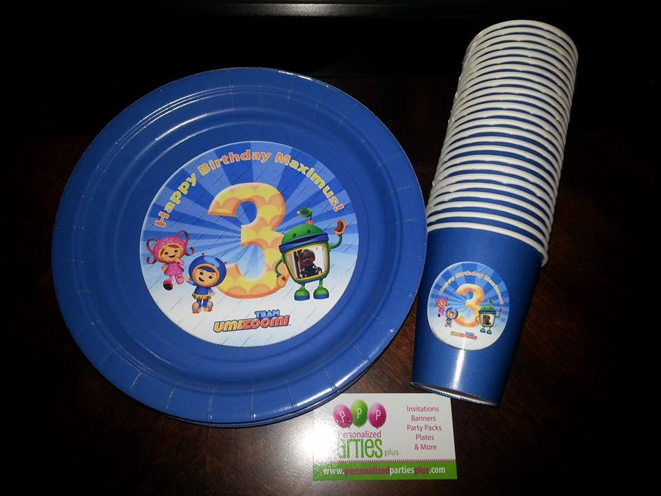 Team Umizoomi plates and cups for childrens birthday parties