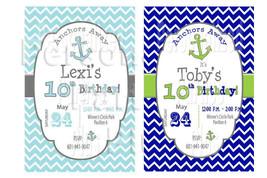 Anchor birthday invitation with chevron print - $8.99