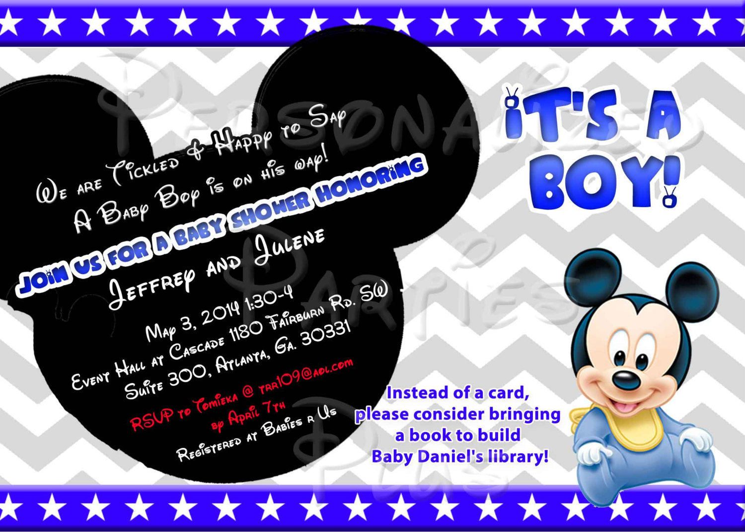 Baby Mickey Mouse Baby Shower Invitation Downloaded and printable