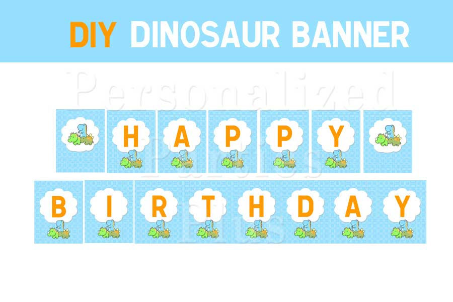 Dinosaur birthday party kit: banner, invitations, cupcake toppers plate labels,