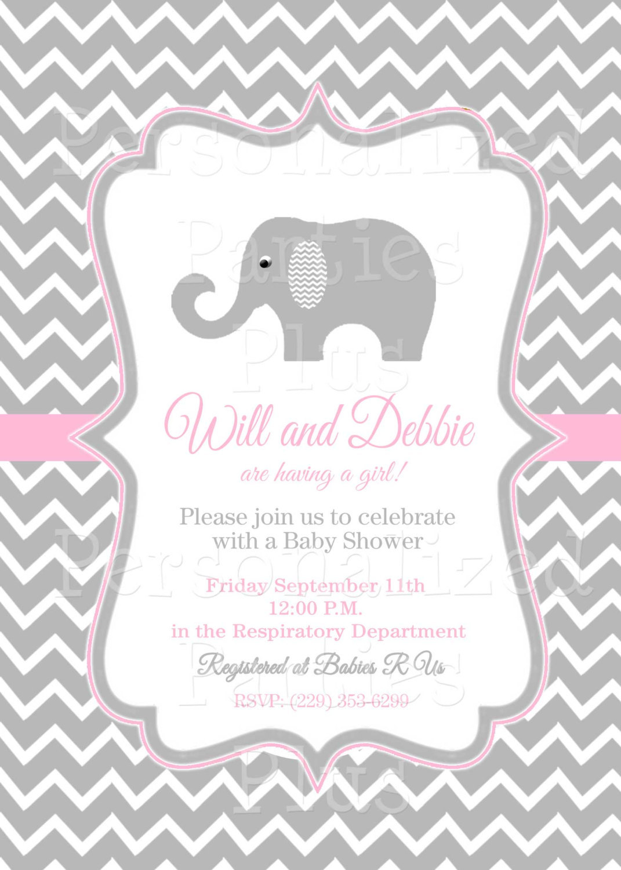 Elephant baby shower invitations for baby girls | chevron | baby shower | invite