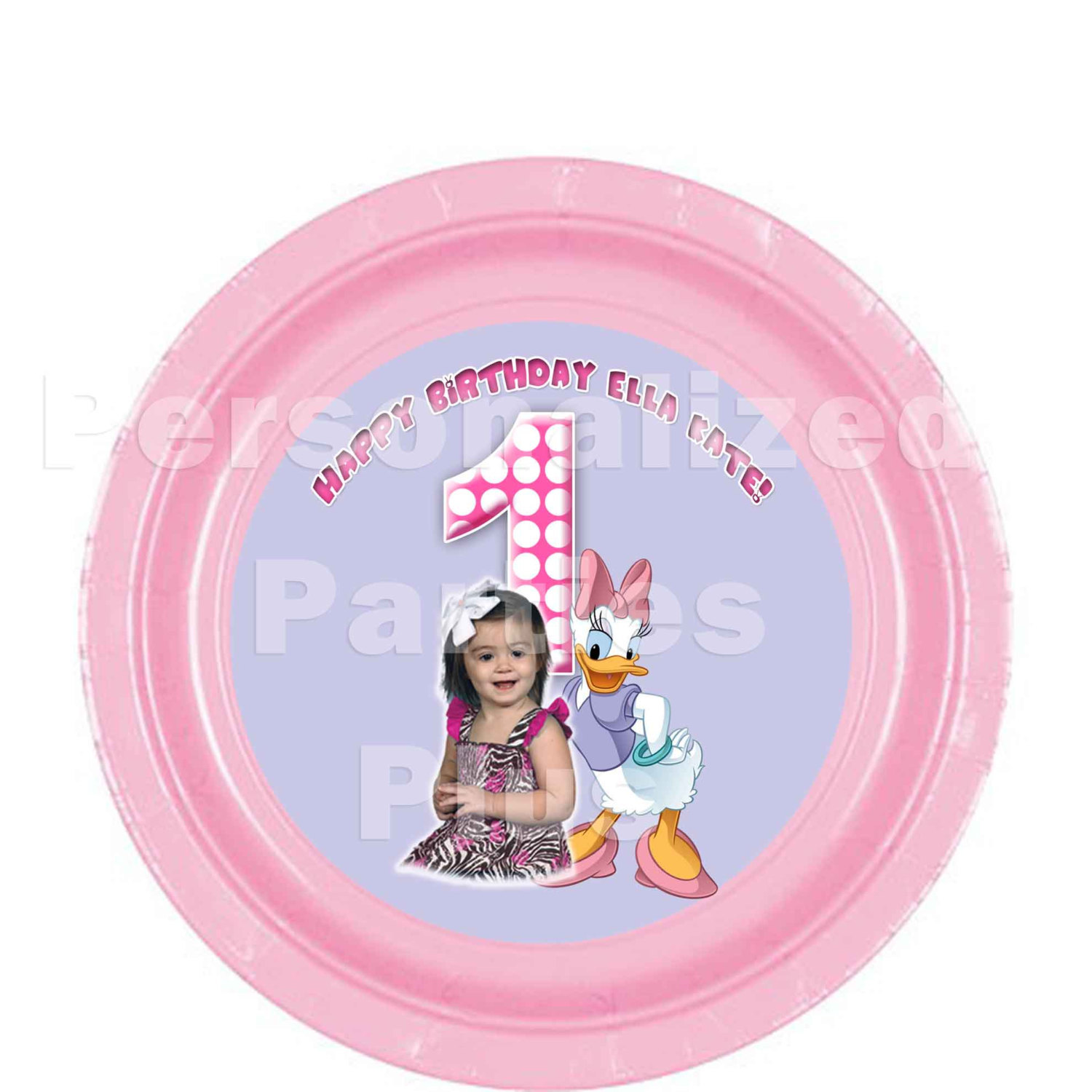 Daisy Duck plates and cups for birthdays or baby showers