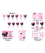 Baby Minnie Mouse baby shower package: banner, centerpieces, cupcake top... - $9.95