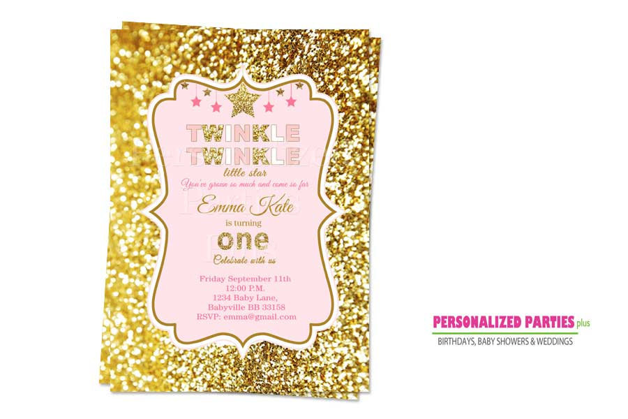 Pink and gold twinkle twinkle little star birthday Invitations | twinkle twinkle