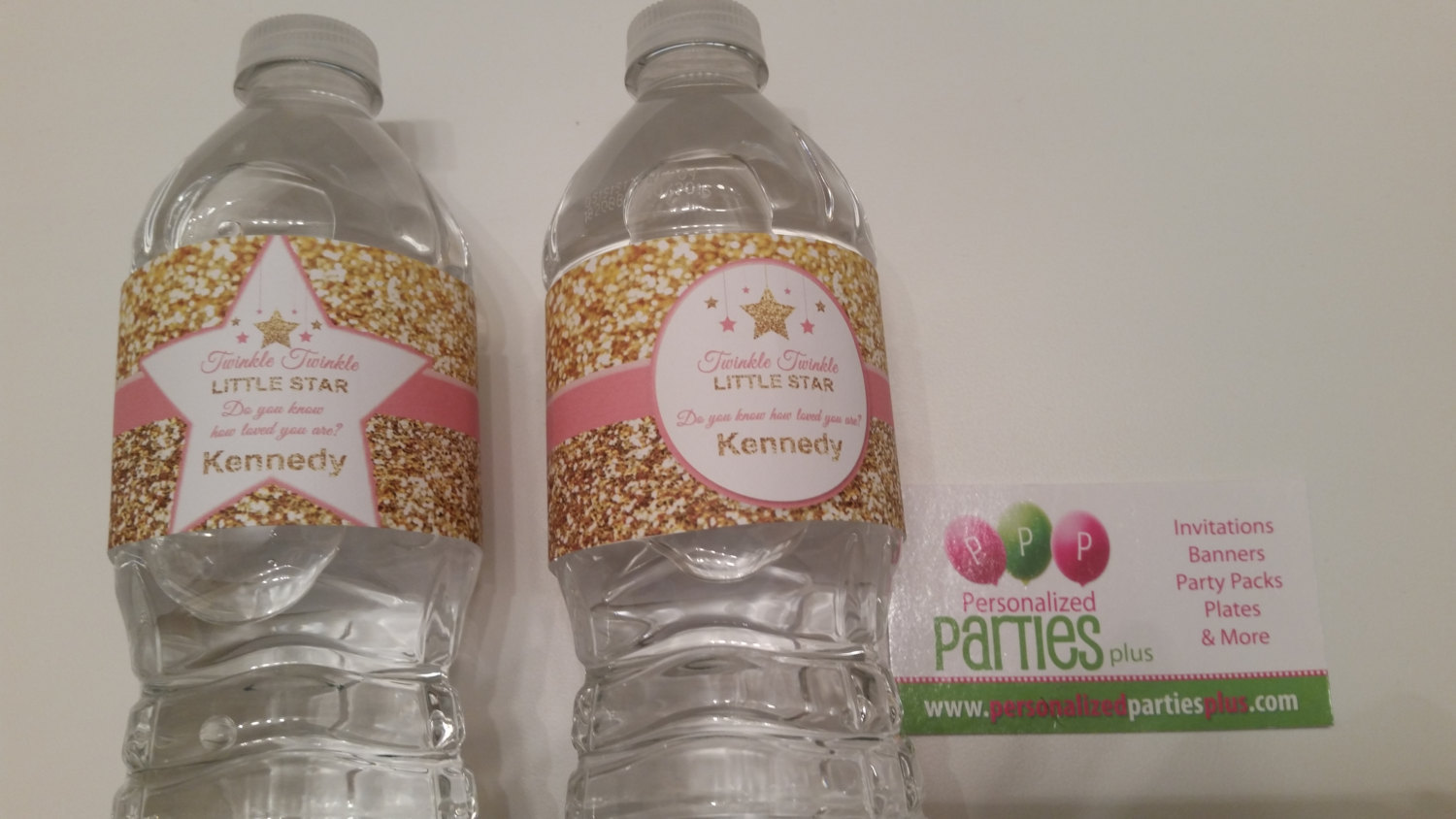 Twinkle Twinkle little star water bottle labels | pink and Gold water bottle lab