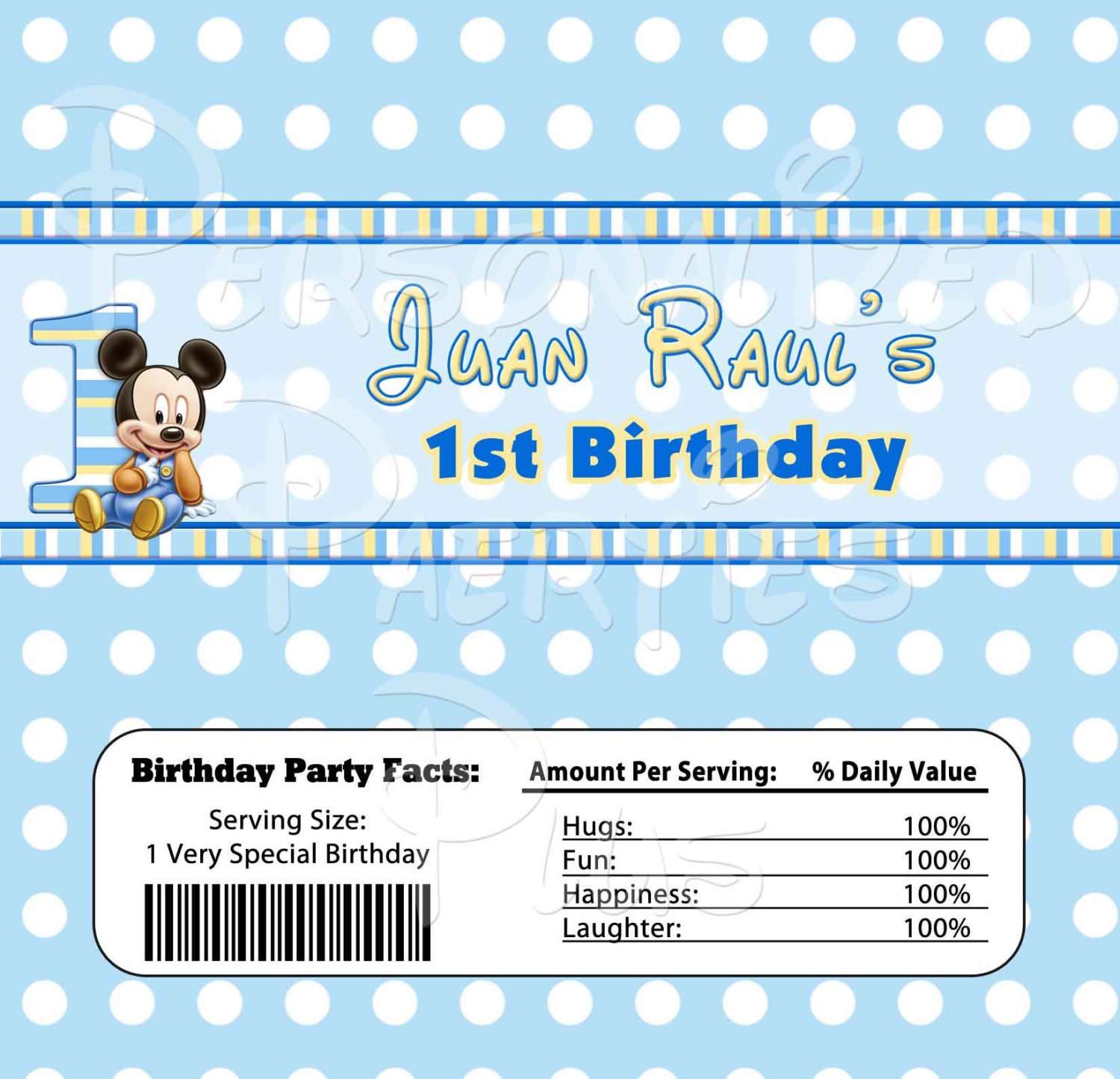 Mickey Mouse candy bar wrappers for birthday parties