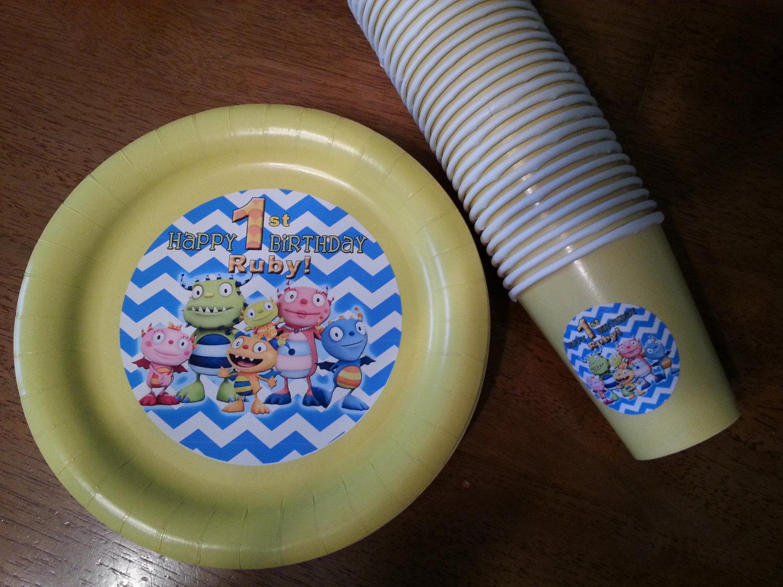 Henry Hugglemonster plates, cups and banner