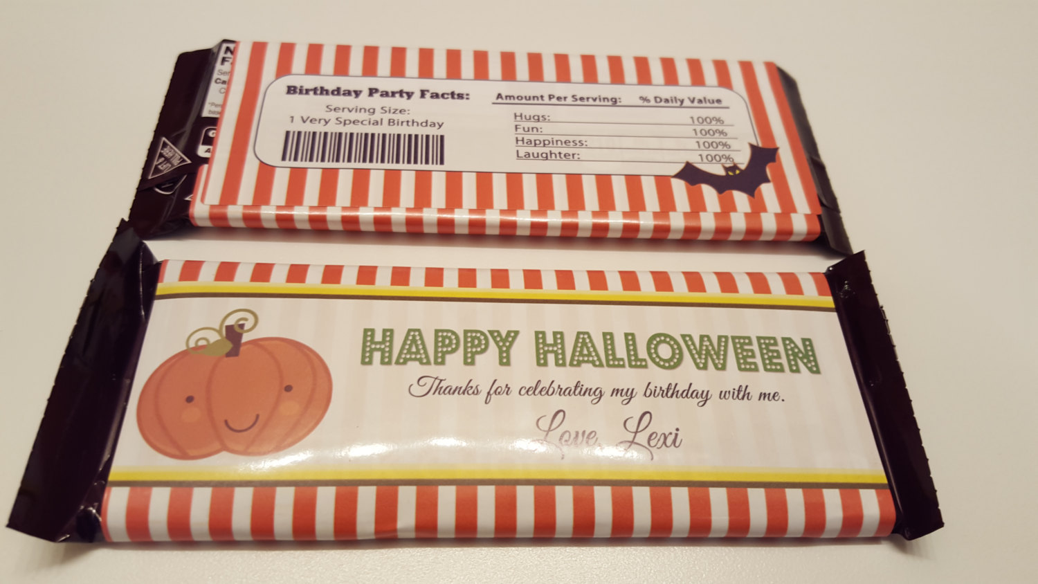 Halloween candy bar wrappers | Pumpkin patch candy bar wrappers