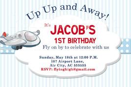 Airplane birthday invitation in blue stripes - $8.99