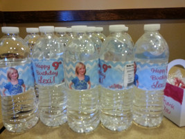 Aqua chevron birthday water bottle labels - Printable - $7.00