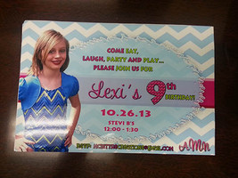 Aqua chevron birthday invitations with your childs photo are a great way... - $14.99