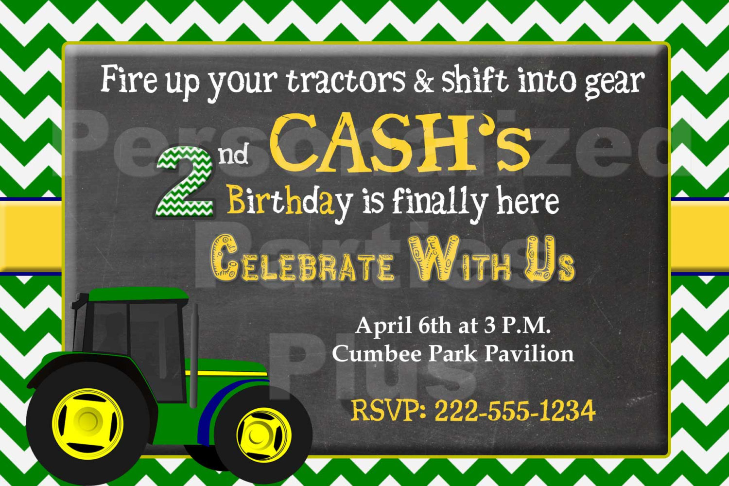 Tractor birthday invitation that is personalized: Downloadable image