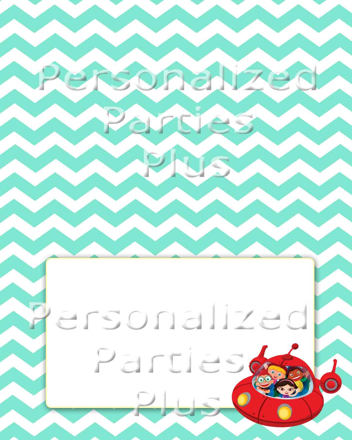 LIttle Einsteins food tents for Birthday Party in aqua chevron print: Instant Do