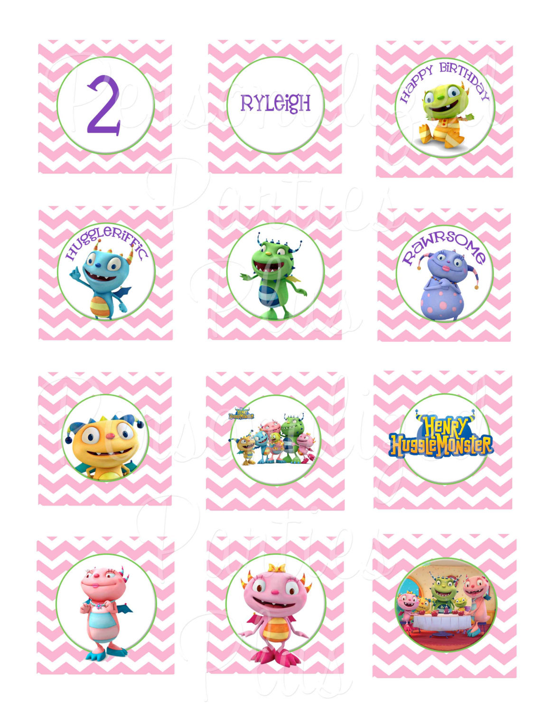 Pink Henry Hugglemonster cupcake toppers