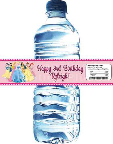 Princess birthday water bottle labels: Downloadable & Printable