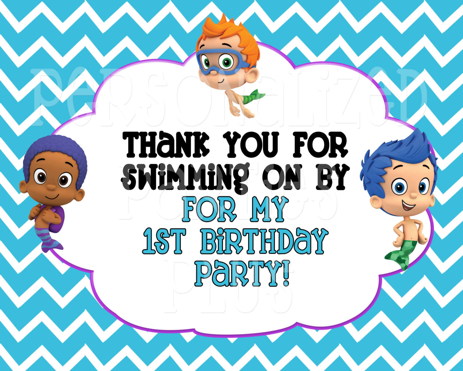 Bubble Guppie birthday sign: Thank you fro swimming on by