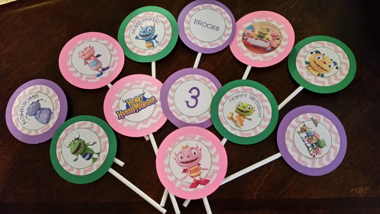 Pink Henry Hugglemonster cupcake toppers image 4