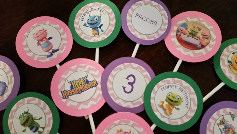 Pink Henry Hugglemonster cupcake toppers image 5