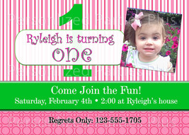 Girls Birthday invitation that is pink and green stripes - $8.99