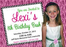 Pink zebra print birthday invitation - $14.99