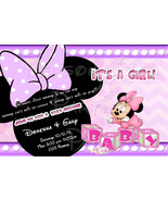 Minnie Mouse baby shower Invitations in purple - $9.99