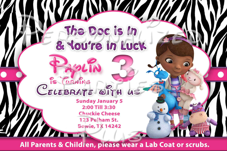 Doc McStuffins Birthday Party Invitations: Zebra print and hot pink, chevron pri