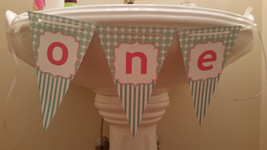"""Aqua and pink """"one"""" high chair banner - $9.99"""